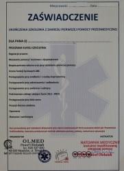Certyfikat ukończenia kursu Pierwszej Pomocy Przedmedycznej